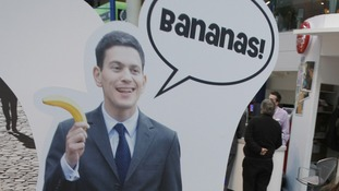 A sign advertising bananas at the 2008 Conservative party conference in Birmingham