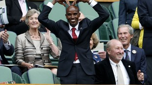 Mo Farah may have broken Wimbledon rules while in the Royal Box yesterday.