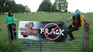 Anti-fracing protestors at the G8 summit in Loch Erne, Enniskillen