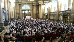 Striking teachers gather at St George's Hall in Liverpool.