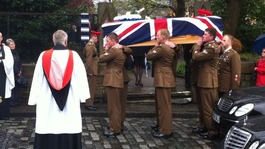 Corporal Jack Stanley&#x27;s coffin leaves church for a private cremation