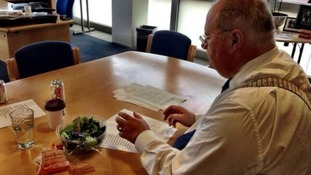 "Eric Pickles tweeted this picture saying: ""Putting final touches to the LGA speech."""