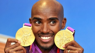 Mo Farah with his 2 Olympic gold medals