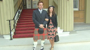 Ewan McGregor arrives wearing a kilt with his wife Eve Mavrakis.