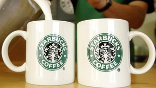 Starbucks coffee mugs.