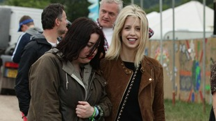 Peaches Geldof (right) backstage during the first performance day of the Glastonbury 2013