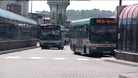 A bus leaving Cardiff Bus Station