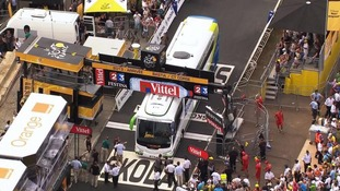 The bus stuck under a barrier at the end of the Tour de France stage 1
