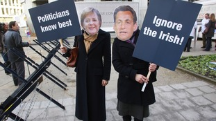 "Protesters against European Union leaders' plans to ignore the Irish ""no"" vote in Brussels in 2008."