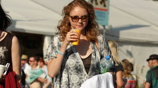 Lily Cole joined the crowds in Glastonbury