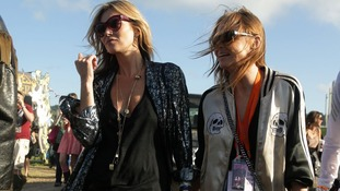 Kate Moss and Stella McCartney backstage at the Glastonbury Festival
