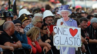A cardboard cut-out of the Queen at the Glastonbury Festival, at Worthy Farm in Somerset
