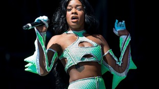 Azealia Banks performing at the Other Stage of Glastonbury Festival
