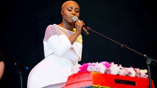 Laura Mvula performing at the Pyramid Stage of Glastonbury Festival, at Worthy farm in Somerset.