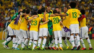 Brazil celebrates their victory over Spain in the Confederations Cup final