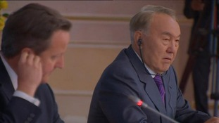 Nursultan Nazarbayev answers ITV News' Political Correspondent Romilly Weeks