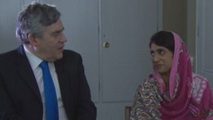 UN special envoy for global education Gordon Brown and Shazia Ramzan.