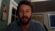 "Chris O'Dowd tells the bride: ""I'll be waiting"" during his message."