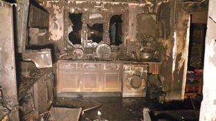 Home damaged by a fridge freezer fire