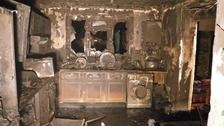 Home damaged by a fridge freezer fire