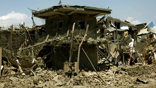 The damaged security tower at the site of the suicide bomb attack in Kabul, Afghanistan.