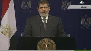 Egypt's President Mohamed Morsi makes a live address to the nation on state TV.