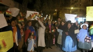 Bolivian protesters outside the French Embassy in La Paz