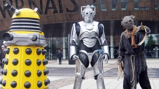 A Royal reception: A Dalek, cyberman and scarecrow in Cardiff City Centre