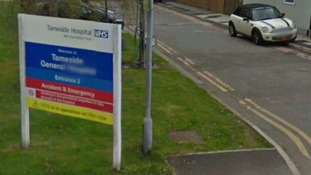 The entrance to Tameside general hospital in Greater Manchester
