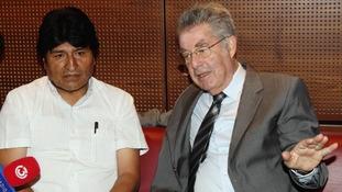 Bolivian President Evo Morales and Austrian President Heinz Fischer inside Vienna International Airport in Schwechat