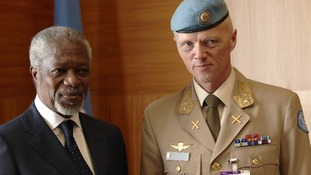 Norwegian general Norwegian General Robert Mood with special envoy Kofi Annan earlier in the month.