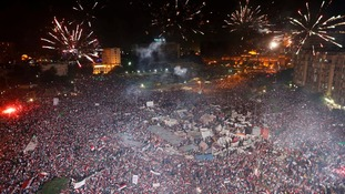 Anti-Morsi protesters celebrate after he is removed by the military.
