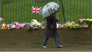 Floral tributes left near Woolwich Barracks in south London where Drummer Lee Rigby was murdered