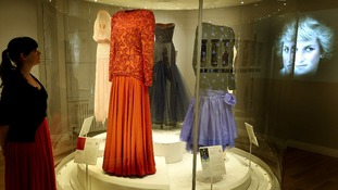 A dress worn by Princess Diana in Saudi Arabia in 1986 at the Fashion Rules Royal Dress Exhibition in Kensington Palace