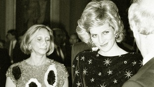 Princess Diana in a Jacques Azagury number at a banquet given by the Mayor of Florence