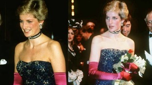 Diana, Princess of Wales, wearing a Murray Arbeid dress, at the Phantom of the Opera premiere in October 1986