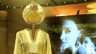 A dress and turban worn by Princess Margaret on the island of Mustique in 1976