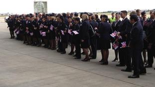 BA staff waiting for aircraft