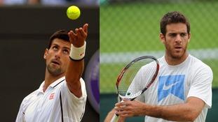 Serbia's Novak Djokovic (L) and Argentina's Juan Martin Del Potro