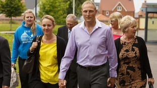 Sergeant Danny Nightingale with his wife Sally leaves his court martial in Bulford, Wiltshire