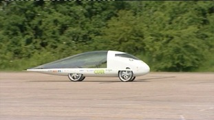 The solar car was designed by a team from Cambridge University