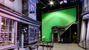 Green screen used to superimpose special effects