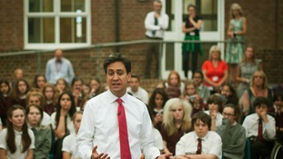 Ed Miliband seen today at a school near Brighton
