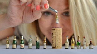 Just a small glass: Replicas of the miniature bottles unveiled by wine merchants Berry Bros. & Rudd.