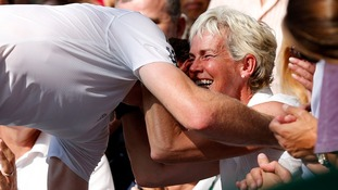 Andy Murray kisses his mum, Judy Murray,