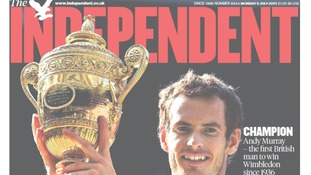 The Independent headline simply reads: Champion