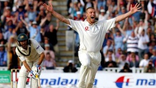 Andrew Flintoff celebrates dismissing Jason Gillespie at Edgbaston in 2005