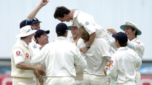Gary Pratt celebrates claiming the wicket of Australia's Ricky Ponting