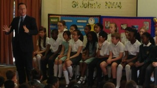Prime Minister David Cameron tweeted this picture from St. May's and St. John's primary school.