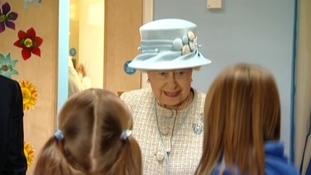 The Queen talking to schoolchildren